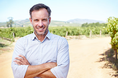 Buy stock photo A handsome mature man standing with his arms folded while on a wine farm