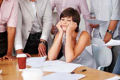 Buy stock photo Attractive business woman getting bored at work in meeting