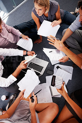 Buy stock photo Group of people discussing business proposal in meeting