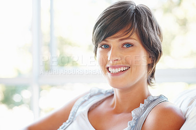 Buy stock photo Closeup portrait of pretty young woman smiling at you