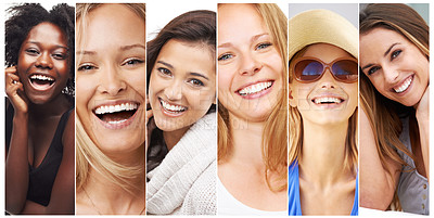 Buy stock photo Composite shot of a group of beautiful young woman