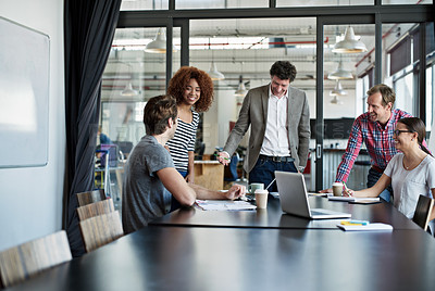 Buy stock photo Shot of office workers in a meeting in a boardroom