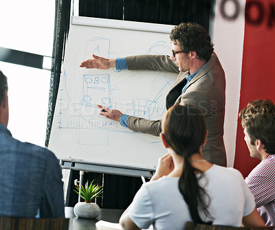 Buy stock photo Shot of a man giving a presentation to colleagues in a boardroom