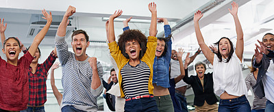 Buy stock photo Shot of a group of colleagues feeling overjoyed