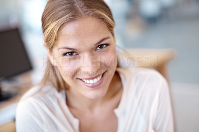 Buy stock photo Closeup portrait of an attractive young business professional