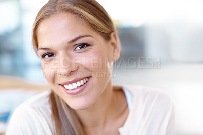 Buy stock photo Beautiful young woman smiling at the camera  - closeup portrait