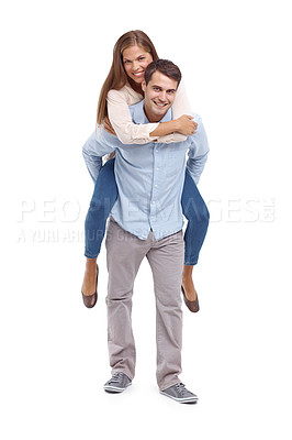Buy stock photo Happy young boyfriend giving his girlfriend a piggyback ride - isolated