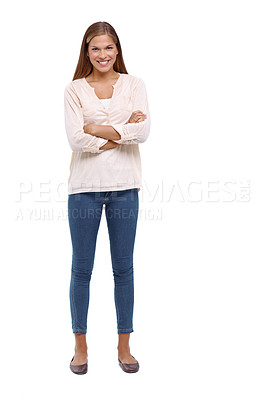 Buy stock photo Studio shot of an attractive young woman isolated on white
