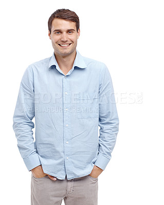 Buy stock photo Handsome young man smiling at the camera with his hands in his pockets - isolated