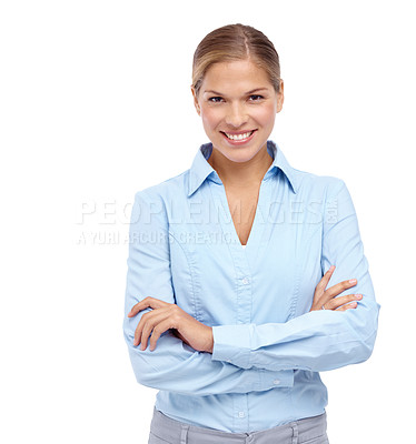 Buy stock photo Gorgeous young blonde woman smiling at the camera with her arms folded
