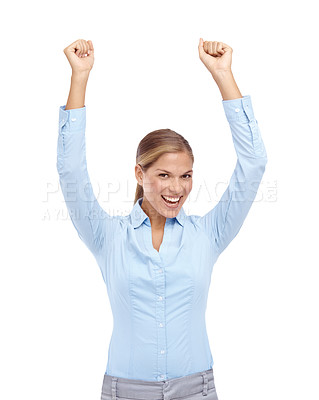 Buy stock photo Happy young woman smiling with her hands in the air