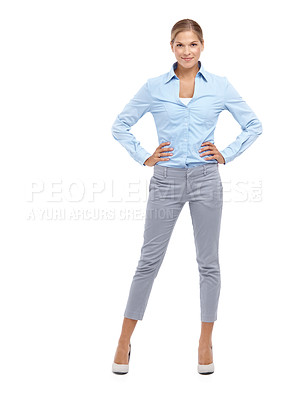Buy stock photo Confident young blonde woman standing with her hands on her hips