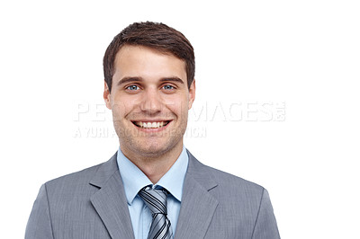 Buy stock photo Closeup of a handsome young businessman smiling at the camera