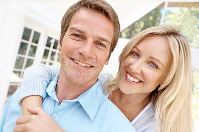 Buy stock photo Closeup portrait of a happy young couple