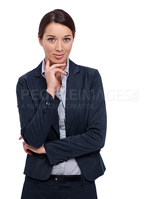 Buy stock photo Young businesswoman thinking against a white background