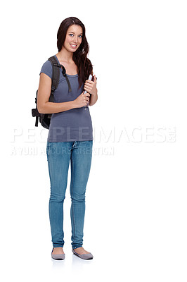 Buy stock photo Cute young college student wearing her backpack against a white background
