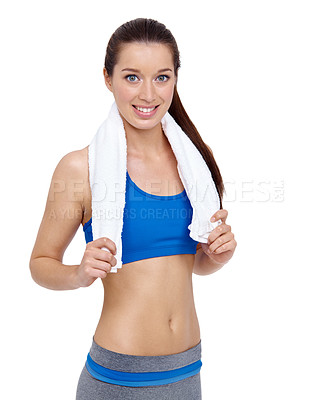 Buy stock photo Portrait of a fit young woman with a towel around her neck isolated on a white background