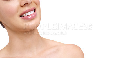 Buy stock photo Cropped view of a pretty young woman smiling