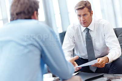 Buy stock photo A financial advisor giving advice to a client