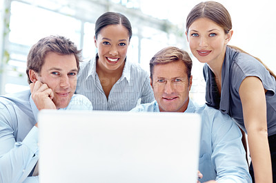 Buy stock photo Professional businesspeople using technology to their advantage during a meeting
