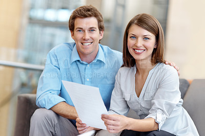 Buy stock photo Smiling young business couple together