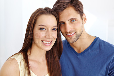 Buy stock photo Portrait of an attractive couple smiling