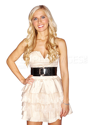 Buy stock photo Studio portrait of an attractive blonde woman dressed in a white cocktail dress isolated on white