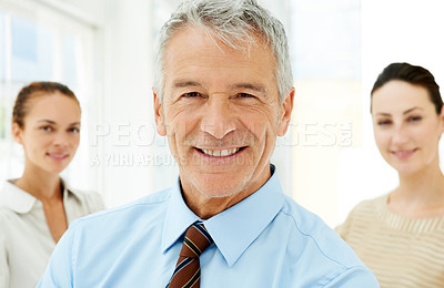 Buy stock photo Happy senior business executive with colleagues in the background