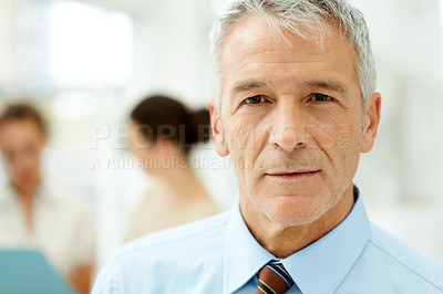 Buy stock photo Closeup portrait of smart senior male business executive with people in background