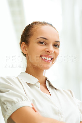 Buy stock photo Portrait of pretty young woman with nice smile