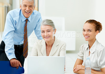 Buy stock photo Portrait of succesful executives in business meeting at office