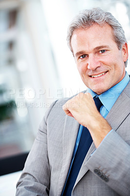 Buy stock photo A handsome mature businessman smiling at the camera