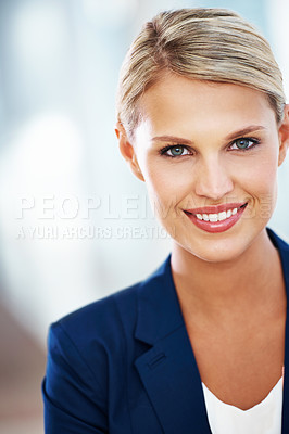 Buy stock photo A gorgeous young businesswoman smiling at the camera