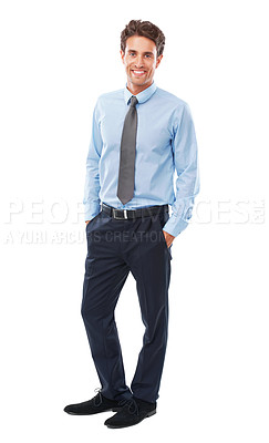 Buy stock photo Studio shot of a confident young businessman