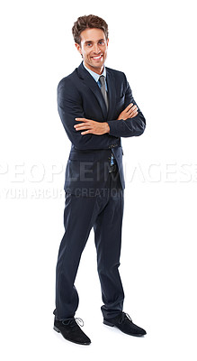 Buy stock photo Studio shot of a smiling young businessman against a white background