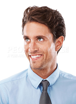 Buy stock photo Closeup of a young businessman with a silly look on his face