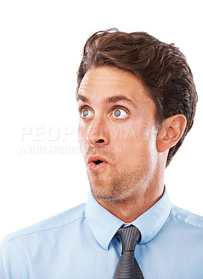 Buy stock photo A surprised young businessman