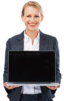 Buy stock photo A young businesswoman holding an open laptop