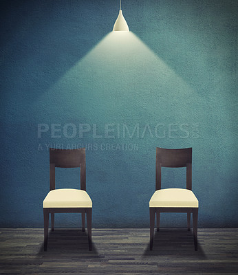 Buy stock photo CGI image of two chairs lit up by an overhanging light