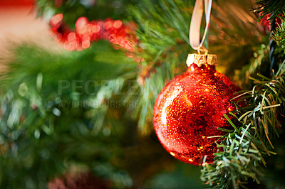 Buy stock photo Closeup shot of an ornament hanging on a christmas tree