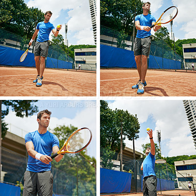 Buy stock photo Composite image of a man playing tennis