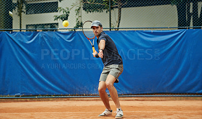 Buy stock photo Shot of a tennis player during a match