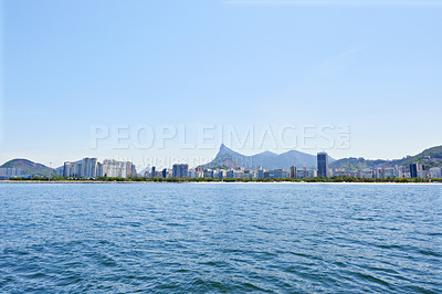 Buy stock photo Panoramic shot of the city of Rio de Janeiro from a distance
