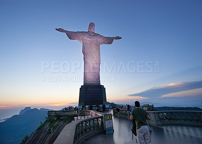 Buy stock photo A group of tourists on the path to see the statue, Christ the Redeemer in Rio