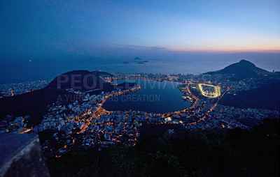 Buy stock photo The view of Rio de Janeiro just after sunset
