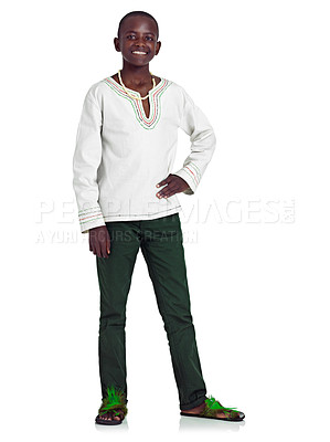 Buy stock photo Full length studio portrait of a young african teenage boy isolated on white