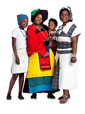 Buy stock photo Studio shot of two african women with their kids holding a blank board, isolated on white