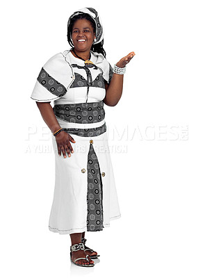 Buy stock photo Studio portrait of an african woman dressed in traditional clothing isolated on white