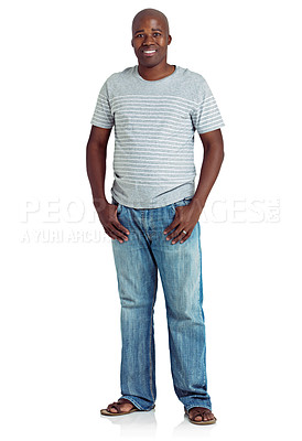 Buy stock photo Studio shot of an african man standing against a white background