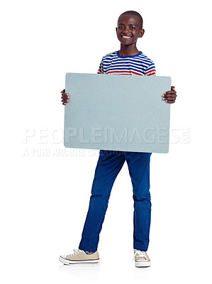 Buy stock photo Full length studio shot of an african teenage boy holding a blank board